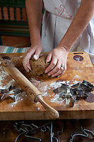 Madeleine Lee kneading dough for Christmas cookies