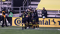 COLUMBUS, OH - DECEMBER 12: Lucas Zelarayan #10 of the Columbus Crew celebrates scoring the first goal of the game with teammates during a game between Seattle Sounders FC and Columbus Crew at MAPFRE Stadium on December 12, 2020 in Columbus, Ohio.