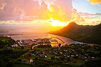 Aerial view of sunrise over Nawiliwili Harbor at Lihu'e, Kaua'i. This spectacular sunrise was captured by a drone flying over the Menehune Fishpond.