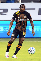 KANSAS CITY, UNITED STATES - AUGUST 25: Maynor Figueroa #15 of Houston Dynamo with the ball  a game between Houston Dynamo and Sporting Kansas City at Children's Mercy Park on August 25, 2020 in Kansas City, Kansas.