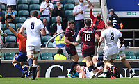 4th July 2021; Twickenham, London, England; International Rugby, Autumn Internationals, England versus United States of America; Jamie Blamire of England scores a try having charged down the kick from Ruben de Hass of USA