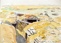 BNPS.co.uk (01202 558833)<br /> Pic: StroudAuctions/BNPS<br /> <br /> Pictured: A watercolour of trenches on the frontline <br /> <br /> The poignant sketchbook of a World War One surgeon has been unearthed a century later.<br /> <br /> Captain Theodore Howard Somervell, of the Royal Medical Corps, treated hundreds of wounded Tommies in a field hospital at the Battle of the Somme.<br /> <br /> He was one of just four surgeons working flat-out in a tent, as scores of casualties lay dying on stretchers outside on the bloodiest in British military history.<br /> <br /> There is a sombre pencil sketch of a soldier on the operating table surrounded by a nurse and doctors. Another watercolour shows the bodies of soldiers strewn on a boggy Western Front battlefield.<br /> <br /> Capt Somervell, who was Mentioned In Despatches, drew landmarks including churches which were reduced to rubble in the deadly barrage. He also took rare photos of life on the frontline, including some taken inside an operating theatre. His sketchbook is being sold by a direct descendant with Stroud Auctions, of Gloucs.