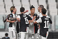 Cristiano Ronaldo of Juventus celebrates after scoring a goal with Bonucci, Dybala, Panic, Bernardeschi.<br /> during the Serie A football match between Juventus FC and US Lecce at Juventus stadium in Turin  ( Italy ), June 26th, 2020. Play resumes behind closed doors following the outbreak of the coronavirus disease. Photo Andrea Staccioli / Insidefoto