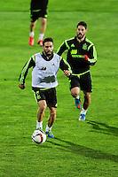 Spanish National Team's  training at Ciudad del Futbol stadium in Las Rozas, Madrid, Spain. In the pic: Carvajal and Isco. March 25, 2015. (ALTERPHOTOS/Luis Fernandez) /NORTEphoto.com