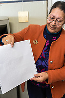 South Africa, Cape Town.  Showing a Page from a Braille Printer.  Athlone School for the Blind.