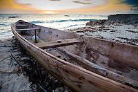 Jambiani, Zanzibar, Tanzania.  Canoe on the Beach at Sunrise.