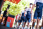 Israel Start-Up Nation at sign on before the start of Stage 6 of La Vuelta d'Espana 2021, running 158.3km from Requena to Alto de la Montaña Cullera, Spain. 19th August 2021.    <br /> Picture: Charly Lopez/Unipublic   Cyclefile<br /> <br /> All photos usage must carry mandatory copyright credit (© Cyclefile   Unipublic/Charly Lopez)