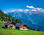 Oesterreich, Tirol, Tuxertal, oberhalb Lanersbach: Almhuetten | Austria, Tyrol, Tuxer Valley, above Lanersbach: alpine pasture huts