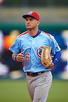 Tennessee Smokies outfielder Albert Almora (6) jogs to the dugout during a game against the Montgomery Biscuits on May 25, 2015 at Riverwalk Stadium in Montgomery, Alabama.  Tennessee defeated Montgomery 6-3 as the game was called after eight innings due to rain.  (Mike Janes/Four Seam Images)