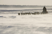 Jeff King runs on the Yukon River on Saturday between Eagle Island and Kaltag in 35-45 mph wind