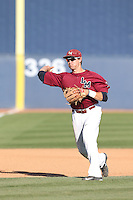 Ted Boeke (16) of the Loyola Marymount Lions makes a throw during infield practice before a game against the Gonzaga Bulldogs at Page Stadium on March 27, 2015 in Los Angeles, California. Loyola Marymount defeated Gonzaga 6-5.(Larry Goren/Four Seam Images)