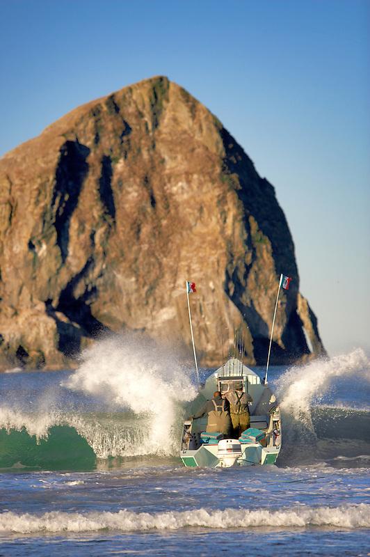 Dory fishing boat launch at Cape Kiwanda. Oregon