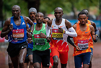 4th October 2020, London, England; 2020 London Marathon; Vincent Kipchumba (KEN), Sisay Lemma (ETH), Eliud Kipchoge (KEN) and Mosinet Geremew (ETH) during the Elite Men's RaceThe historic elite-only Virgin Money London Marathon taking place on a closed-loop circuit around St James's Park in central London on Sunday 4 October 2020.