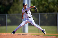 FIU Panthers relief pitcher Christian Santana (8) during a game against the South Dakota State Jackrabbits on February 23, 2019 at North Charlotte Regional Park in Port Charlotte, Florida.  South Dakota defeated FIU 4-3.  (Mike Janes/Four Seam Images)