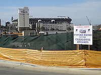 The Charlotte Knights' new BB&T Ballpark is under construction at the intersections of Mint, Martin Luther King, Graham and 4th Streets in downtown Charlotte, North Carolina. It is scheduled to open in 2014 with a seating capacity of 10,000. It is located adjacent to the new Romare Bearden Park, which is currently under construction and scheduled for a 2013 opening. The Knights are a Class AAA International League affiliate of the Chicago White Sox. (Tom Priddy/Four Seam Images)