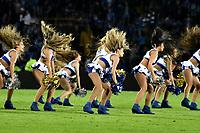 BOGOTA - COLOMBIA - 07 – 04 - 2017: Bastoneras de Millonarios animan a su equipo durante partido de la fecha 12 entre Millonarios y Atletico Nacional, por la Liga Aguila I-2017, jugado en el estadio Nemesio Camacho El Campin de la ciudad de Bogota. / Cheerleaders of Millonarios cheer for their team during a match of the date 12 between Millonarios and Atletico Nacional, for the Liga Aguila I-2017 played at the Nemesio Camacho El Campin Stadium in Bogota city, Photo: VizzorImage / Luis Ramirez / Staff.