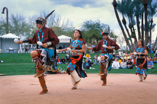 The Dineh Tah Dancers are a youth group who perform traditional Navajo dances such as the gourd dance and dress in traditional regalia