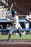 Michigan Wolverines third baseman Christian Molfetta (14) at bat against the Michigan State Spartans on March 21, 2021 in NCAA baseball action at Ray Fisher Stadium in Ann Arbor, Michigan. Michigan scored 8 runs in the bottom of the ninth inning to defeat the Spartans 8-7. (Andrew Woolley/Four Seam Images)