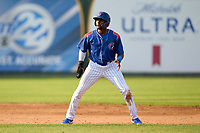 South Bend Cubs Alexander Canario (35) leads off second base during a game against the Quad Cities River Bandits on August 20, 2021 at Four Winds Field in South Bend, Indiana.  (Mike Janes/Four Seam Images)