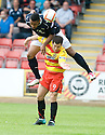 14/08/2010   Copyright  Pic : James Stewart.sct_jsp012_partick_th_v_dundee  .::  DOMINIC SHIMMIN GOES OVER THE TOP OF LIAM BUCHANAN  ::.James Stewart Photography 19 Carronlea Drive, Falkirk. FK2 8DN      Vat Reg No. 607 6932 25.Telephone      : +44 (0)1324 570291 .Mobile              : +44 (0)7721 416997.E-mail  :  jim@jspa.co.uk.If you require further information then contact Jim Stewart on any of the numbers above.........