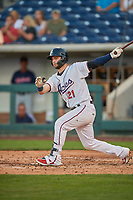 Wyatt Mathisen (21) of the Reno Aces bats against the Nashville Sounds at Greater Nevada Field on June 5, 2019 in Reno, Nevada. The Aces defeated the Sounds 3-2. (Stephen Smith/Four Seam Images)
