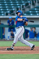 AZL Rangers center fielder Ryan Anderson (6) follows through on his swing during an Arizona League playoff game against the AZL Cubs 1 at Sloan Park on August 29, 2018 in Mesa, Arizona. The AZL Cubs 1 defeated the AZL Rangers 8-7. (Zachary Lucy/Four Seam Images)
