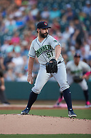 Gwinnett Stripers starting pitcher Tanner Roark (57) in action against the Charlotte Knights at Truist Field on July 17, 2021 in Charlotte, North Carolina. (Brian Westerholt/Four Seam Images)