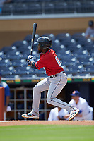 Daniel Johnson (8) of the Columbus Clippers follows through on his swing against the Durham Bulls at Durham Bulls Athletic Park on June 1, 2019 in Durham, North Carolina. The Bulls defeated the Clippers 11-5 in game one of a doubleheader. (Brian Westerholt/Four Seam Images)