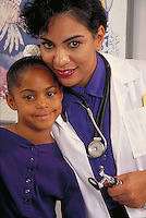Hispanic doctor and African-american patient portrait