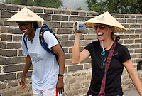 USWNT midfielder Aly Wagner enjoys the view with teammate Briana Scurry while climbing the Great Wall at Badaling near Beijing, China.  The team will spend a few days in the capital before moving to Qinhuangdao for their first two group games of the 2008 Olympics.