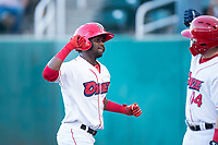 Orem Owlz center fielder D'Shawn Knowles (4) celebrates with Connor Fitzsimons (14) after hitting his second home run of the game during a Pioneer League game against the Ogden Raptors at Home of the OWLZ on August 24, 2018 in Orem, Utah. The Ogden Raptors defeated the Orem Owlz by a score of 13-5. (Zachary Lucy/Four Seam Images)