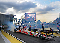Mar. 9, 2012; Gainesville, FL, USA; NHRA top fuel dragster driver David Grubnic during qualifying for the Gatornationals at Auto Plus Raceway at Gainesville. Mandatory Credit: Mark J. Rebilas-