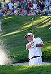 August 7, 2011: Pat Perez hits out of a bunker on the 18th hole during the Reno-Tahoe Open at Montrêux.