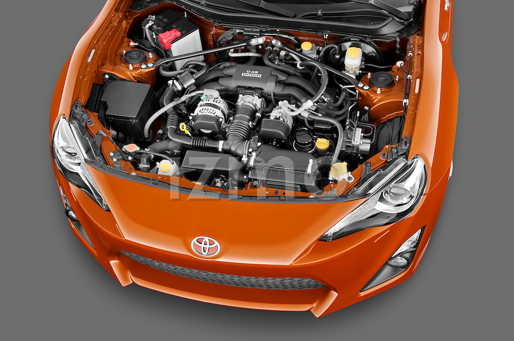 High angle engine detail of a 2013 Toyota GT86 Sport Coupe .