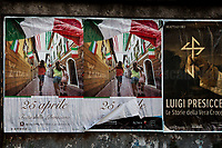 """25th of April, the Italian Liberation Day from nazi-fascism.<br /> <br /> Rome, Italy. 23rd Apr, 2021. Today, Azione Antifascista Roma Est, supported by ANPI (Associazione Nazionale Partigiani d'Italia ANPI - National Association of Italian Partizans, Members of the Italian Resistance in WWII) Centocelle and the Kurdish Community (Rete Kurdistan Roma and Ararat Kurdish Cultural Centre), held a demonstration (1.) to commemorate the second anniversary of the death of Lorenzo """"Orso"""" Orsetti, the Italian citizen who died the 18th of March 2019 in the North of Syria / Rojava while fighting against ISIS along with the Kurdish forces. At the end of the demo a memorial plaque was installed in Camelie's Square which says: """"Ogni tempesta comincia con una singola goccia. Cercate di essere voi quella goccia"""" (Every storm begins with a single drop. Try to be that drop). <br /> <br /> Footnotes & Links:<br /> 1. http://bit.do/fQAAU <br /> (Source, Wikipedia.org ENG) https://en.wikipedia.org/wiki/Lorenzo_Orsetti"""