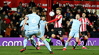 Emiliano Marcondes of Brentford bursts through the Leeds United defence during Brentford vs Leeds United, Sky Bet EFL Championship Football at Griffin Park on 11th February 2020