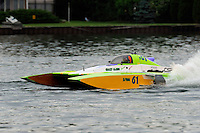 "13-14 June, 2009, APBA Inboards, Walled Lake, Novi, MI. USA.Nicky Pellerin, E-81 ""Crazy Cajun"", 5 Litre hydroplane.©F. Peirce Williams 2009 USA.F.Peirce Williams.photography.ref: RAW (.NEF) File Available"