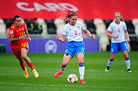 Elisabeth Vang of Faroe Islands Women's in action during the UEFA Women's EURO 2022 Qualifier match between Wales Women and Faroe Islands Women at Rodney Parade in Newport, Wales, UK. Thursday 22 October 2020