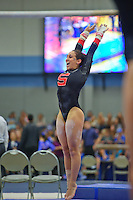 LOS ANGELES, CA - February 5, 2012:  Stanford's Samantha Shapiro during competition against the UCLA Bruins at the Wooden Center.   UCLA defeated Stanford, 197.250 - 196.450.