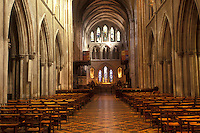 AJ0962, Europe, Republic of Ireland, Ireland, Dublin. The majestic stone interior of St. Patrick's Cathedral in Dublin in County Dublin.