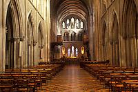 AJ0962, Europe, Republic of Ireland, Ireland, Dublin. The majestic stone interior of St. Patrick's Cathedral in Dublin in County Dublin.