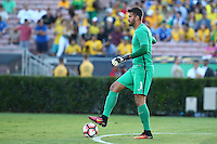 Actio photo during the match Brasil vs Ecuador, at Rose Bowl Stadium Copa America Centenario 2016. ---Foto  de accion durante el partido Brasil vs Ecuador, En el Estadio Rose Bowl, Partido Correspondiante al Grupo -B-  de la Copa America Centenario USA 2016, en la foto: Alisson<br /> <br /> --- 04/06/2016/MEXSPORT/ German Alegria.