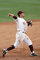 Riccio Torrez #30 of the Arizona State Sun Devils makes a throw to first base against the University of New Mexico Lobos in game two of the 2011 season opening series on February 20, 2011 at Packard Stadium, Arizona State University, in Tempe, Arizona..Photo by:  Bill Mitchell/Four Seam Images.
