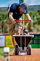 1 March 2019: A member of the grounds crew lays down the base path chalk lines prior to a Spring Training game between the Washington Nationals and the Miami Marlins at Roger Dean Stadium in Jupiter, Florida. The Nationals defeated the Marlins 5-4 in Grapefruit League play. Mandatory Credit: Ed Wolfstein Photo *** RAW (NEF) Image File Available ***