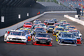 NASCAR XFINITY Series<br /> Lilly Diabetes 250<br /> Indianapolis Motor Speedway, Indianapolis, IN USA<br /> Saturday 22 July 2017<br /> Kyle Busch, NOS Energy Drink Rowdy Toyota Camry, Joey Logano, Discount Tire Ford Mustang and Brennan Poole, DC Solar Chevrolet Camaro<br /> World Copyright: Russell LaBounty<br /> LAT Images