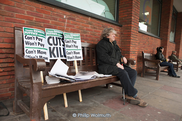 Can't Move, Won't Move. Thanet Benefit Justice Campaign information stall outside a Thanet District Council advice centre in Margate.
