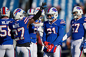 Buffalo Bills Tre'Davious White (27) and Jordan Poyer (21) during pre-game warmups before an NFL football game against the New York Jets, Sunday, December 9, 2018, in Orchard Park, N.Y.  (Mike Janes Photography)