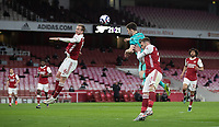 April 3rd 2021; Emriates Stadium, London, England;  Liverpools Diogo Jota climbs to win the header and scores for 0-1 in minute 64 during the Premier League match between Arsenal and Liverpool at the Emirates Stadium in London
