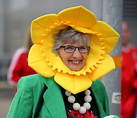A woman wearing a daffodil hat outside the stadium prior to the Wales  the FIFA World Cup Qualifier Group D match between Wales and Austria at The Cardiff City Stadium, Cardiff, Wales, UK. Saturday 02 September 2017