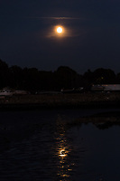 The Full Beaver Moon rises over trees and a boat yard and reflects in the low-tide mud of San Francisco Bay at the San Leandro Marina.